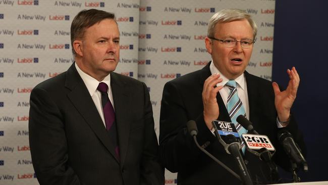 Former prime minister Kevin Rudd and his deputy Anthony Albanese.