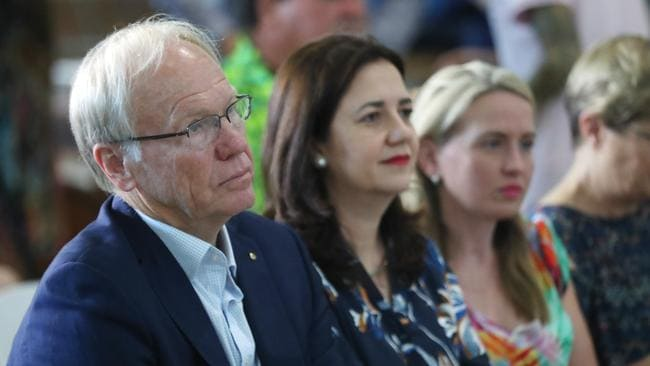 Commonwealth Games organising committee chairman Peter Beattie at the Brisbane International Airport with Premier Annastacia Palaszczuk and Games Minister Kate Jones. Picture: Peter Wallis