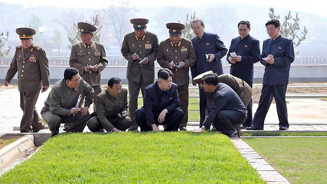 This undated picture released from North Korea's official Korean Central News Agency (KCNA) on May 6 shows North Korean leader Kim Jong-un inspecting the newly built Turf Institute of the Bioengineering Branch under the State Academy of Sciences in suburban Pyongyang.