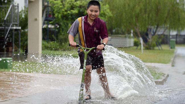 Jack Muller, 10, in Wulguru certainly noticed the rain. Picture: Wesley Monts
