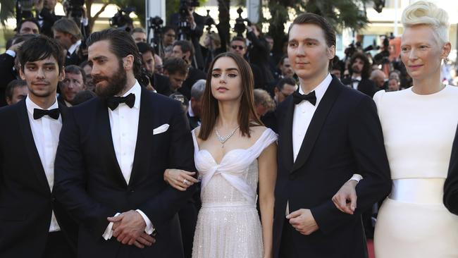 Actors Devon Bostick, Jake Gyllenhaal, Lily Collins, Paul Dano and Tilda Swinton all star in the Netflix movie Okja which premiered at Cannes Film Festival last night. Picture: Alastair Grant