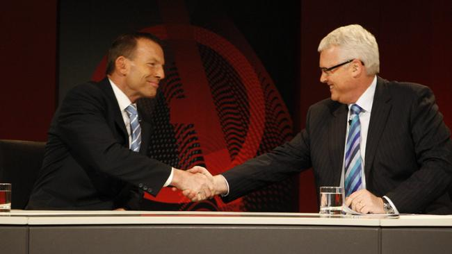 All smiles ... Tony Abbott previously appeared on ABC's Q & A as opposition leader