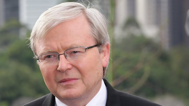 Kevin Rudd faces the media in Brisbane. Picture: Darren England