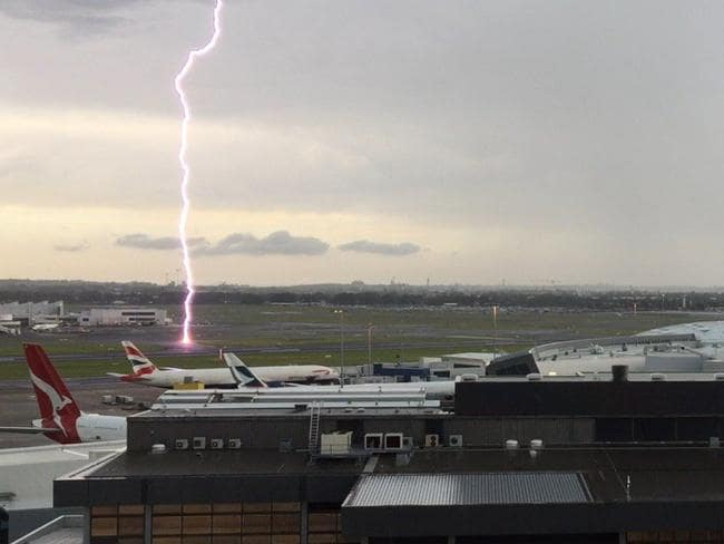 Terrifying images from Sydney Airport, where planes were grounded. Picture: Twitter/alistairjhogg