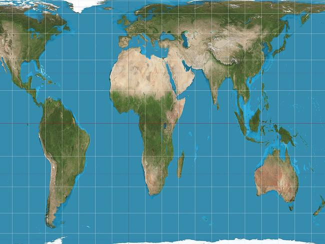 Critics argue the Gall-Peters projection is more accurate in terms of land size, but may appear more distorted to those not used to seeing the world this way. Picture: Wikicommons