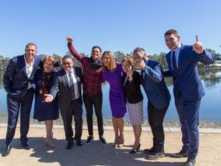 The 2030 Commonwealth Games bid for regional Victoria announcement. Mitch Catlin, Suzanna Sheed, Dinny Adem, John Steffensen, Heloise Pratt, Jeanette Powell, Adem Karafili and Nick Holland Pic: Chris Hawking