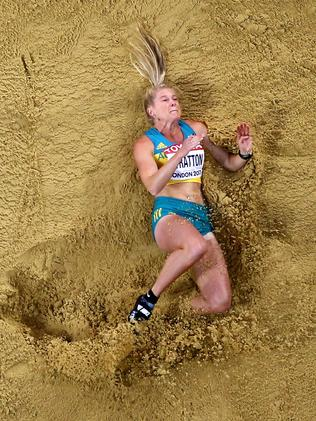 Brooke Stratton competes in the Women's Long Jump final.