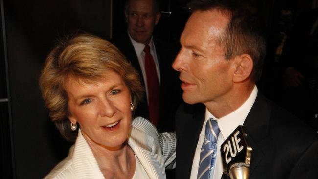 Doomed ... cabinet ministers are saying Julie Bishop and Tony Abbott now have a Gillard-Rudd like relationship.