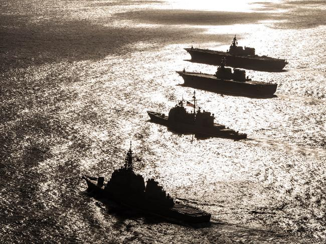 US warships in formation with Japan Maritime Self-Defense Forceduring Annual Exercise 2016. Many analysts do not expect surface ships to survive long in a modern, missile-intensive war. Picture: US Navy