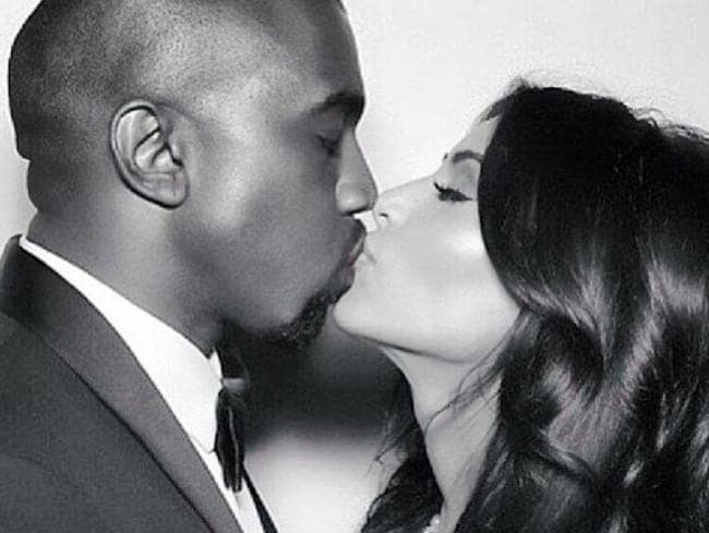 Kim Kardashian and Kanye West wedding picture. Picture: Instagram.