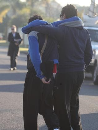 Friends meet at Nevada Ave after the death of Jed Coates. Picture: John Grainger