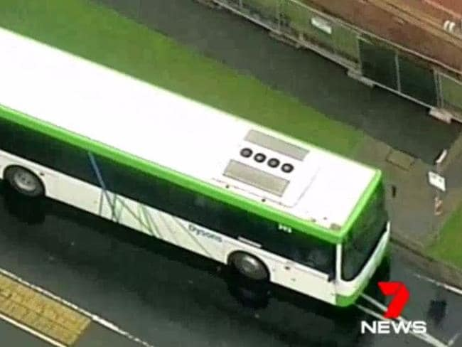 Police conducting safety checks on the bus. Image: Channel 7
