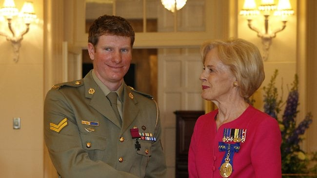 Corporal Daniel Keighran with Governor-General Quentin Bryce at Government House in Canberra. Picture: Kym Smith