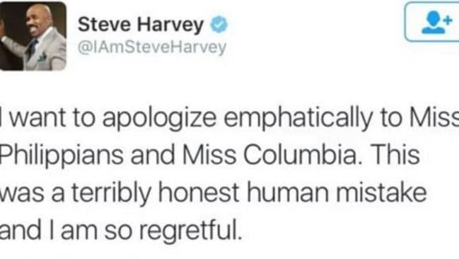 Oops ... Steve Harvey tries to make up publicly for his mistake. Picture: Twitter