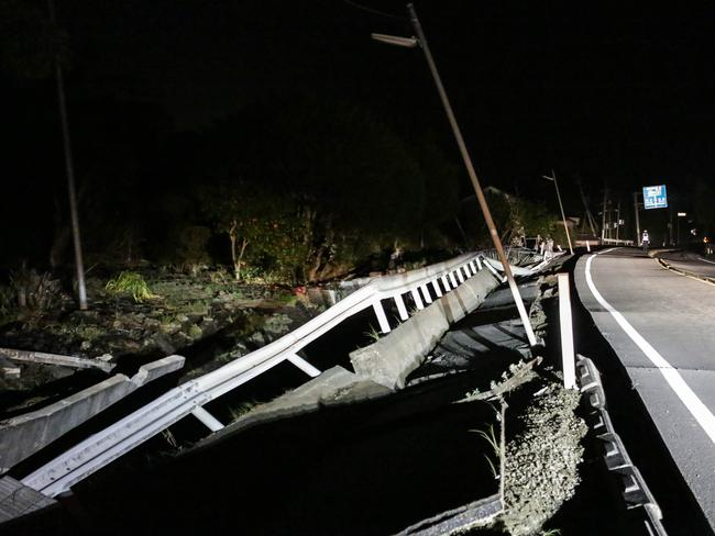 A road newly damaged by the 7.3 magnitude earthquake in Mashiki, Kumamoto, Japan.