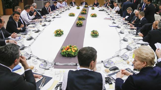 Just for starters. EU leaders sit down for dinner after signing a deal that they hope will keep Britain with the European Union. Photo: AP.