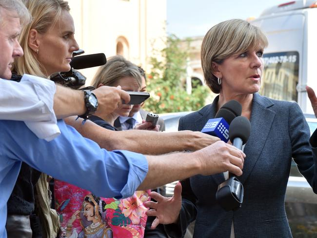 Foreign Minister Julie Bishop speaks to the media in front of the Netherlands' embassy in Kiev / Picture: AFP