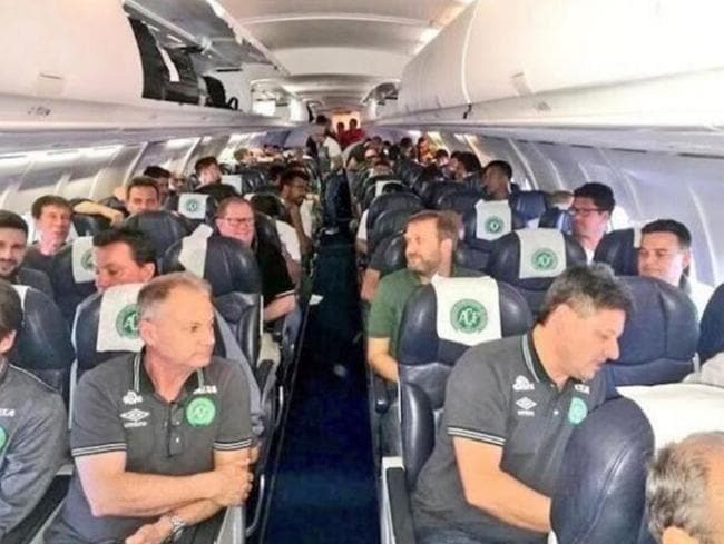 The last known picture of the 22 players and officials of the Brazilian professional football side Chapecoense.