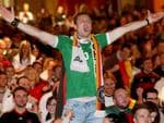 Cameron Groskreutz cheers on Germany at Adelaide's German Club. Picture: Simon Cross