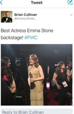 "Brian Cullinan tweets a snap of Emma Stone as she arrives backstage after winning ""Best Actress"" during the 89th Annual Academy Awards. Picture: Twitter"