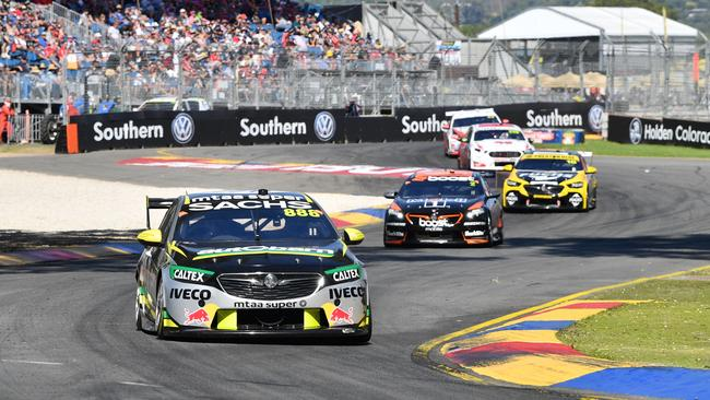 Craig Lowndes in action during the Adelaide 500.