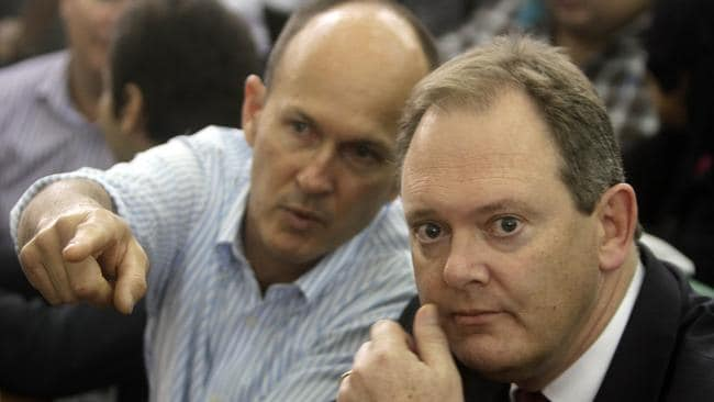 Pointing the finger ... Peter Greste's brother Mike with the Australian ambassador to Egypt, Dr Ralph King, during the Al-Jazeera team's sentencing hearing in Cairo earlier this week.
