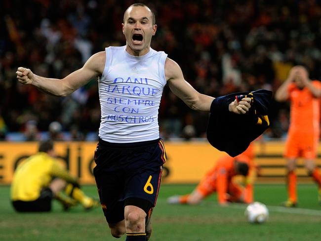 Andres Iniesta celebrates his goal in the 116th minute of the 2010 World Cup final.