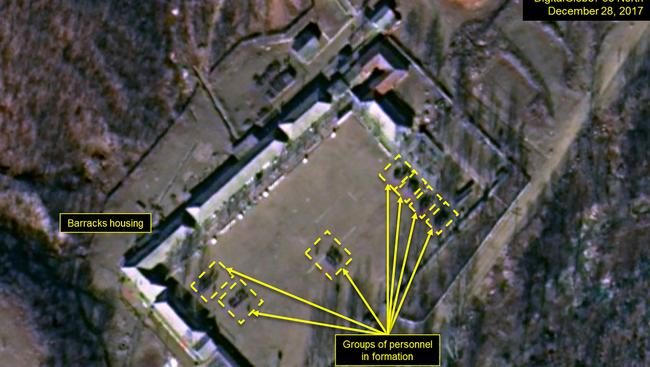 Large numbers of personnel have been observed at the nuclear facility. Picture: DigitalGlobe/38 North via Getty Images