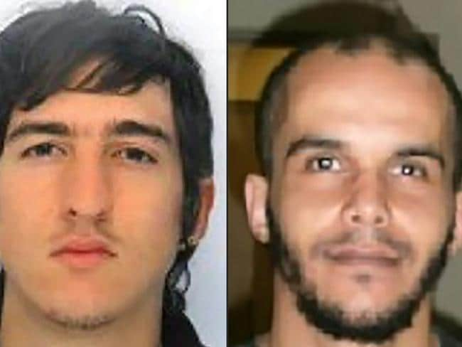 This combination of two handout pictures released by the French Police shows Clement B (L) and Mahiedine M (R) arrested in Marseilles, southern France. Picture: AFP