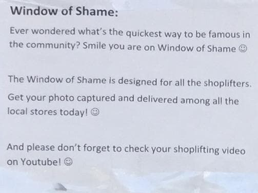 Supermarket's brutal note to shoplifters