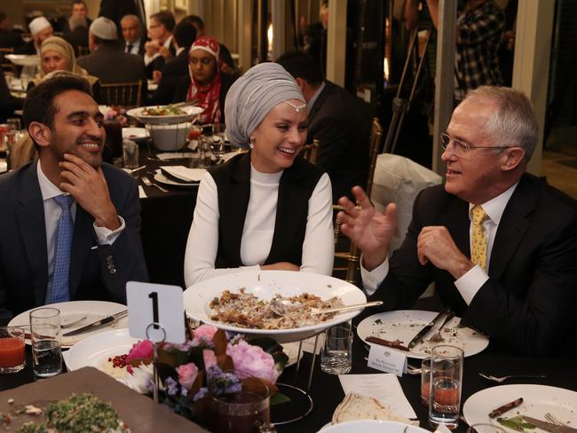Prime Minister Malcolm Turnbull hosted an Iftar dinner celebrating Ramadan at Kirribilli House in Sydney on Thursday 16 June 2016. Guests included broadcaster Waleed Aly and his wife Susan Carland. Picture: Andrew Meares / Fairfax Media