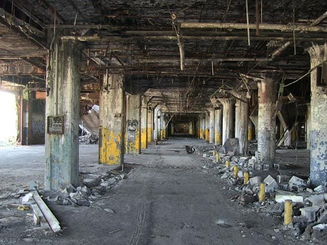 This is what it looks like inside the Packard Auto Plant. There's not a whole lot of work going on. Picture: Unplanned America