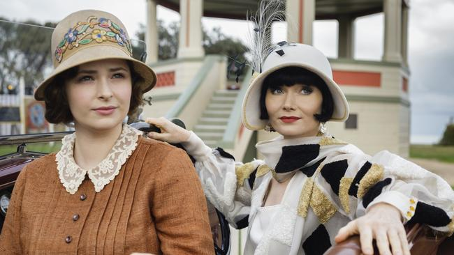 Wise beyond her years ... with Essie Davis in Miss Fisher's Murder Mysteries. Picture: Supplied.