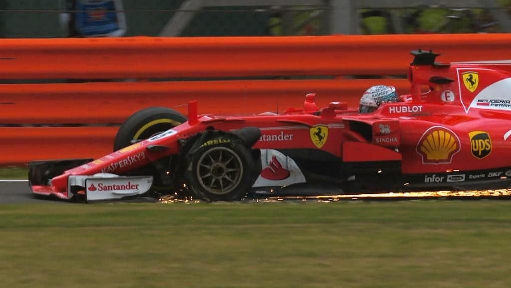 Sebastian Vettel suffered a tyre puncture at the British Grand Prix.