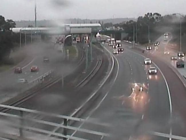 Yesterday's wet weather made driving conditions treacherous on city roads. Picture: Main Roads Traffic