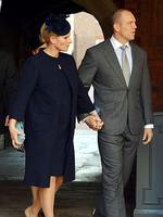 Zara Phillips, pregnant with her first child with rugby player and husband Mike Tindall (R) arrive at Chapel Royal. Picture: AFP