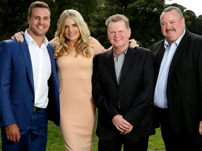 The Channel Nine Footy Show crew: Beau Ryan, Erin Molan, Paul Vautin and Daryl Brohman. Picture: Gregg Porteous