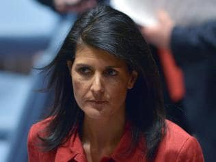 "(FILES) This file photo taken on April 7, 2017 shows US Ambassador to the UN and current UN Security Council president, Nikki Haley at the UN headquarters in New York. Nikki Haley, the US ambassador to the United Nations, on April 24, 2017 called the detention of a US citizen by North Korea a display of muscle-flexing by the country's ""flailing"" leader. Kim Sang-Duk, or Tony Kim, was arrested Saturday at Pyongyang's airport as he was about to leave the country after a teaching stint at a university founded by evangelical Christians. / AFP PHOTO / Jewel SAMAD"