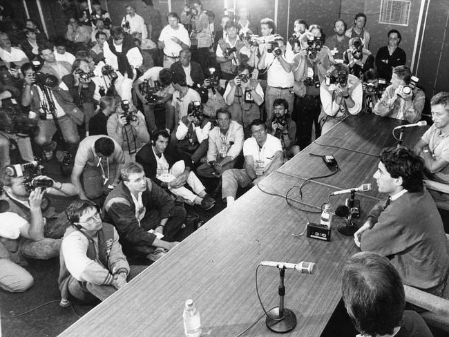 Thw world's press gathered to hear Senna speak in the wake of his clash with Prost at Suzuka.