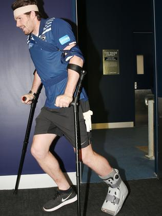 Dangerfield arrives for Monday afternoon's press conference. Picture: Mark Wilson