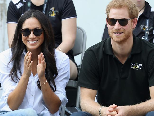 Prince Harry and Meghan Markle watching a tennis match in Toronto. Picture: Getty/Chris Jackson