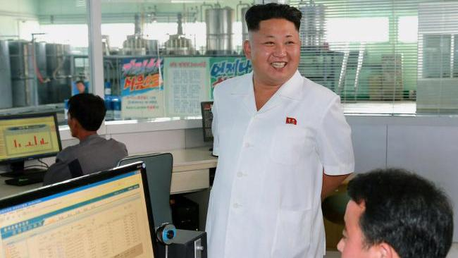 North Korean leader Kim Jong-un pictured inspecting the Chonji Lubricant Factory. Picture: AFP