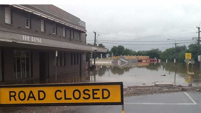 Gympie, north of Brisbane, has been flooded for the fifth time in two years. Pictured is The Royal Hotel in Monkland Street. Picture: Kathleen Donaghey