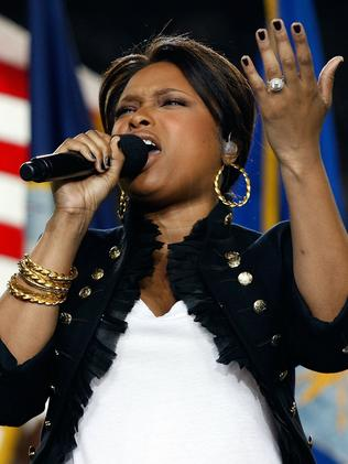 The singer performing the U.S. National Anthem at the 2009 Super Bowl. Picture: Getty Images