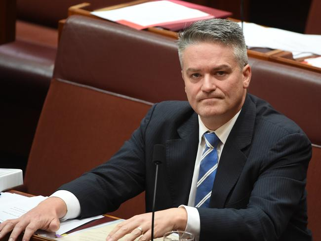 Finance Minister Mathias Cormann looked put out after the Backpacker Tax Bill vote in the Senate. Picture: AAP/Mick Tsikas