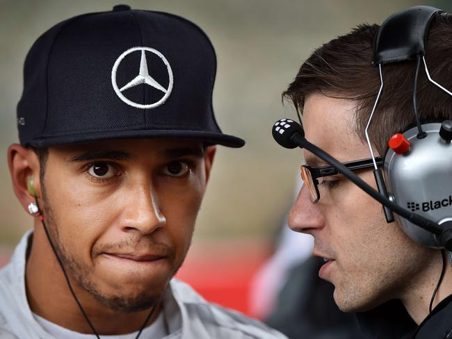 Lewis Hamilton talks to the Mercedes team during the Belgian GP.