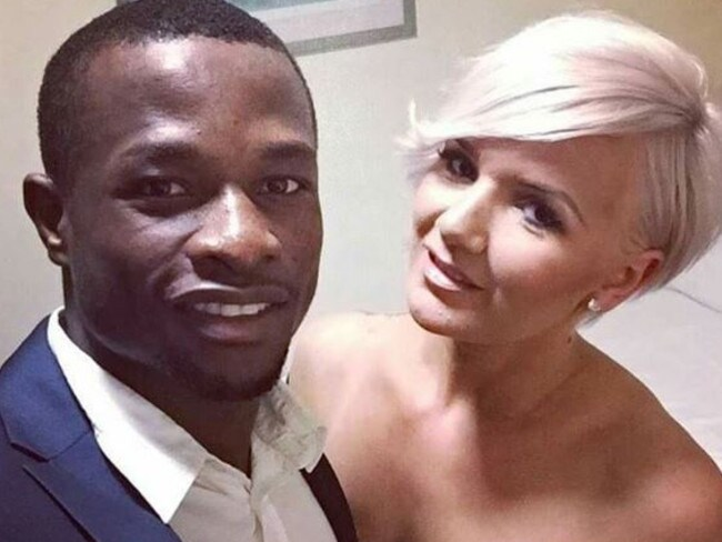 UFC fighter Marc Diakiese and partner.