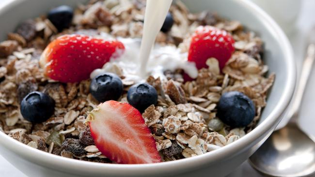 Muesli is a good choice. Just add fruit instead of sugar or honey.