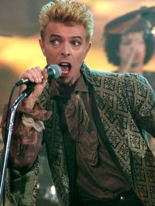1997 ... David Bowie performing on stage during the famous German TV program Wetten, daß...?. Picture: AFP