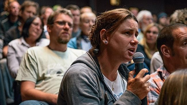 An audience member speaks at the shark forum in Margaret River. Picture: Elements Margaret River